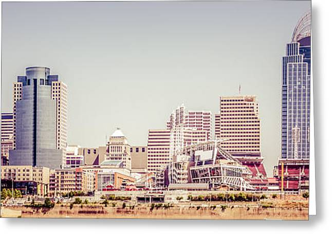 Cincinnati Skyline Retro Panorama Picture Greeting Card by Paul Velgos