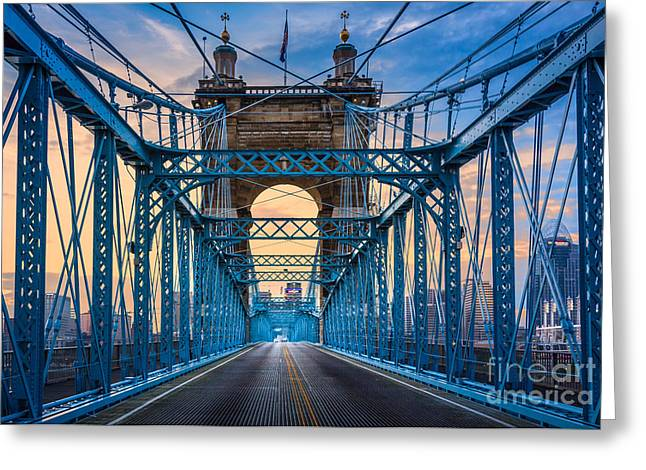 Cincinnati Suspension Bridge Greeting Card by Inge Johnsson