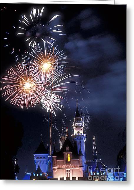 Cinderella Castle Fireworks Iconic Fairy-tale Fortress Fantasyland Greeting Card by David Zanzinger