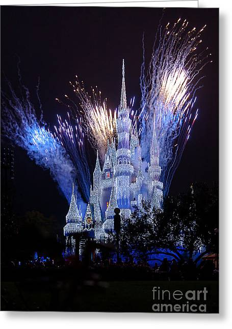 Magic Kingdom Castle Frozen Blue Greeting Card
