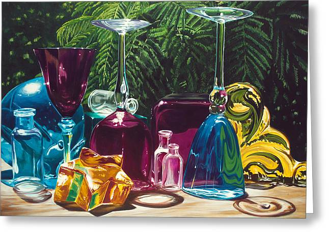 Cindy's Wine Glasses Greeting Card by Lisa Frick
