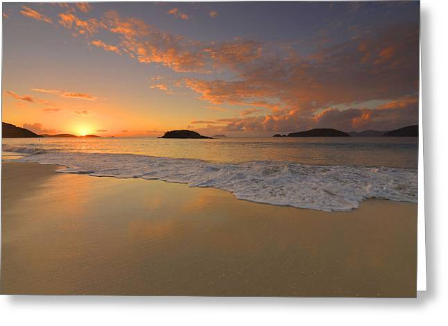Cinnamon Bay Sunset Reflections Greeting Card by Stephen  Vecchiotti