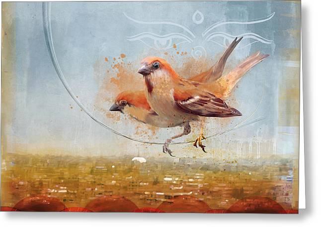 Cinnamon Sparrows Greeting Card by Alex Tomlinson