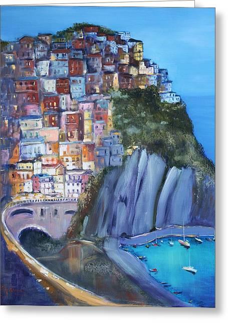 Cinque Terre Greeting Card by Kathy  Karas