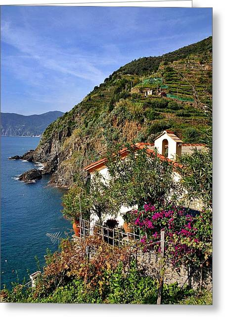 Cinque Terre Seaside Greeting Card by Henry Kowalski