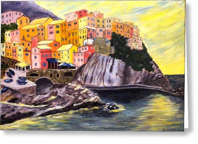 Cinque Terre Sunrise Greeting Card by Diane Arlitt