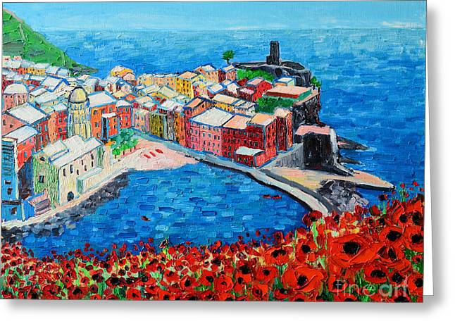 Cinque Terre Vernazza Poppies Greeting Card by Ana Maria Edulescu