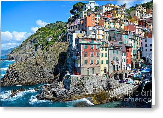 Cinque Terre Village No 1 Greeting Card by Amy Fearn