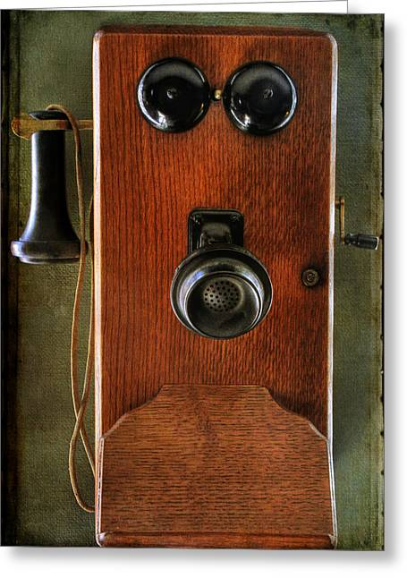 Circa 1920's Antique Wall Phone Greeting Card by Donna Kennedy