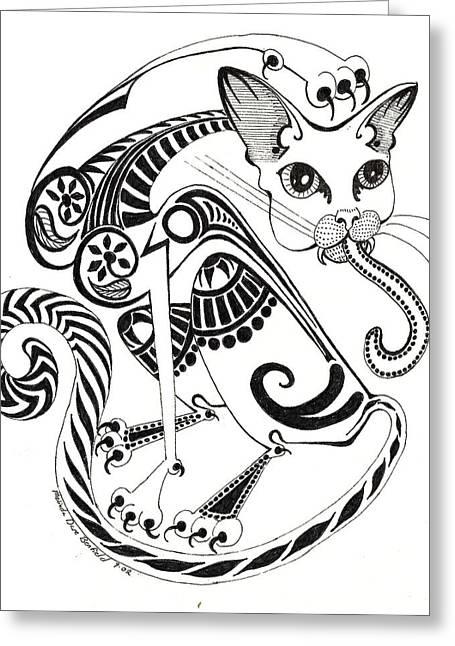 Circle Cat Greeting Card by Melinda Dare Benfield
