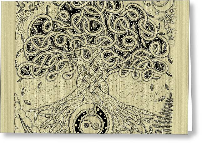 Circle Celtic Tree Of Life Inked Greeting Card