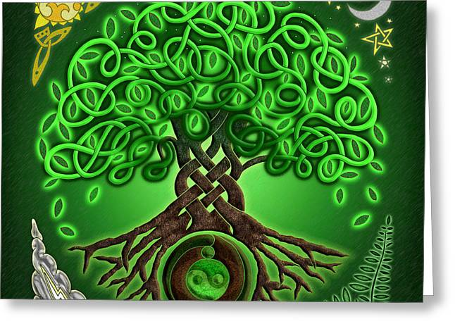 Circle Celtic Tree Of Life Greeting Card by Kristen Fox
