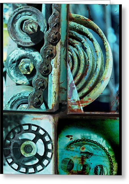 Circle Collage In Blue Greeting Card by Fran Riley