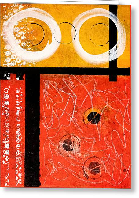 Circle Gold Abstract Greeting Card by Nancy Merkle