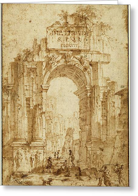 Circle Of Giovanni Paolo Panini, Arch Of Titus Greeting Card