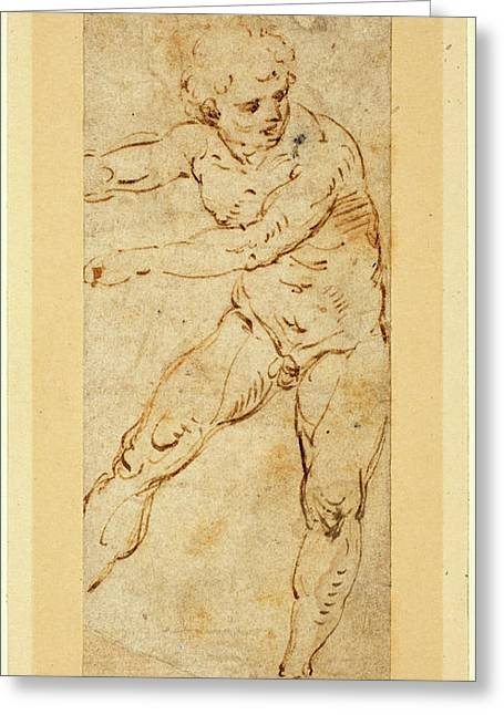 Circle Of Raphael, Italian 1483-1520, A Standing Male Nude Greeting Card by Litz Collection
