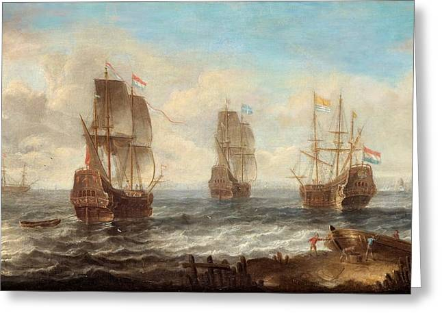 Greeting Card featuring the painting Circle Of Sailing Ships by Jacob Adriaensz Bellevois