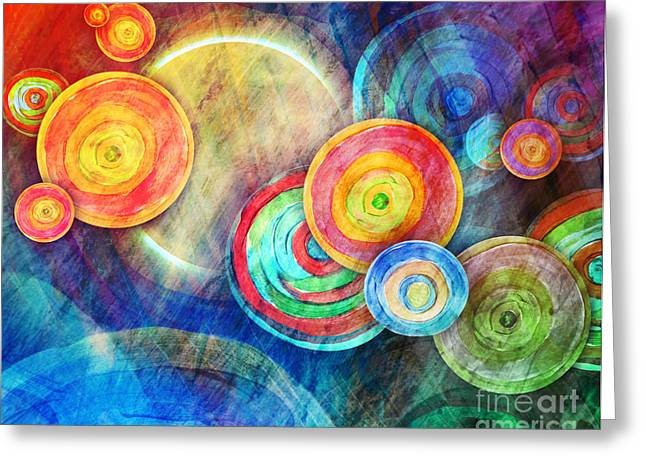 Circle Shape Art In Sun Landscape Greeting Card by Angela Waye