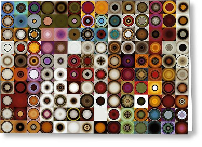 Circles And Squares 3. Modern Home Decor Art Greeting Card by Mark Lawrence