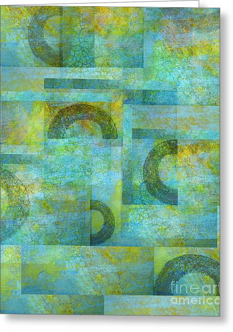 Circles And Squares Greeting Card by Ann Powell