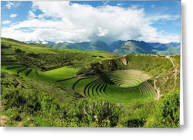 Circular Inca Terraces Of Moray Greeting Card by Panoramic Images