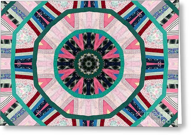 Circular Patchwork Art Greeting Card by Barbara Griffin