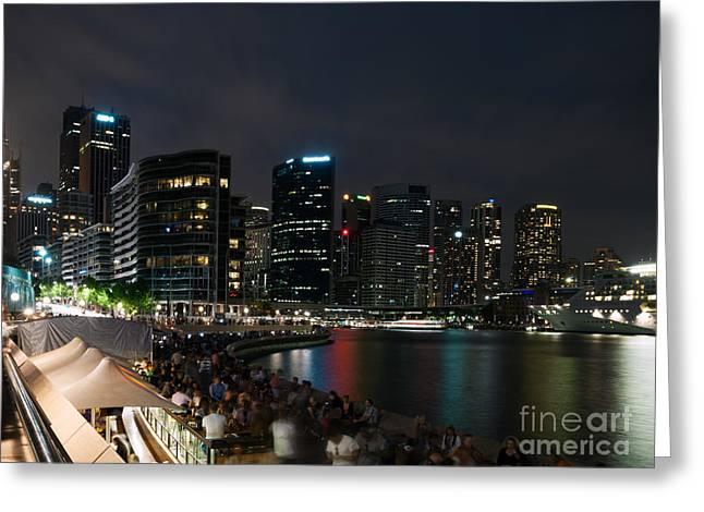 Circular Quay At Night Greeting Card