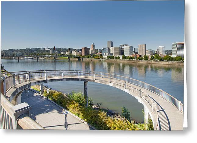 Greeting Card featuring the photograph Circular Walkway On Portland Eastbank Esplanade by JPLDesigns