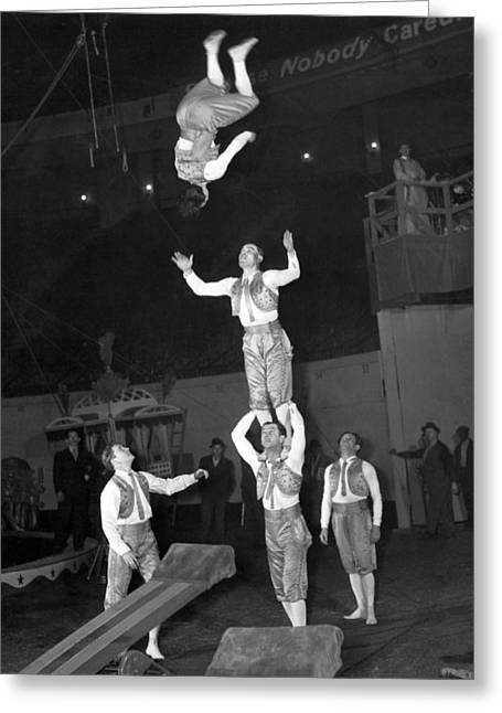 Circus Acrobats Practicing Greeting Card by Underwood Archives