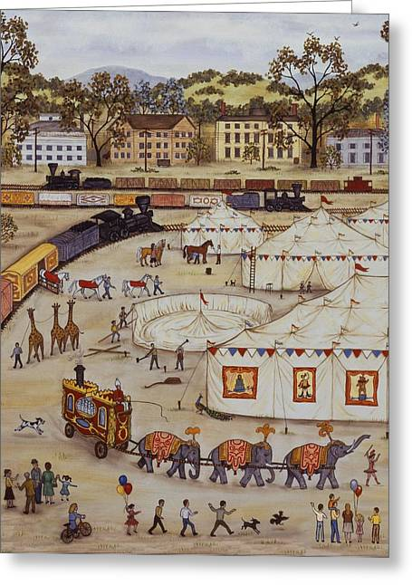 Circus Arrival One Greeting Card by Linda Mears