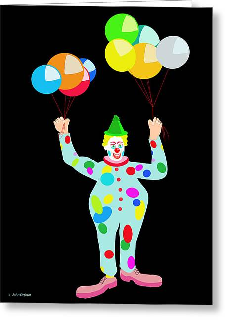 Circus Clown With Balloons Greeting Card