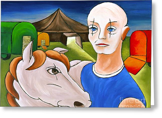 Circus Man And Horse Greeting Card by William Cain
