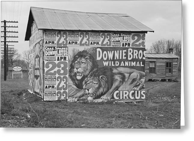 Circus Posters Covering A Building Near Lynchburg Greeting Card