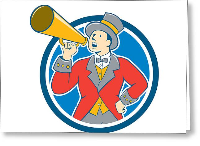 Circus Ringmaster Bullhorn Circle Cartoon Greeting Card