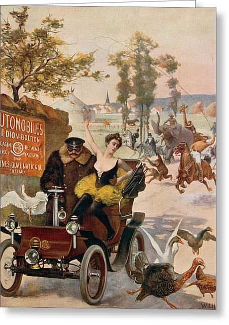 Circus Star Kidnapped Wilhio S Poster For De Dion Bouton Cars Greeting Card