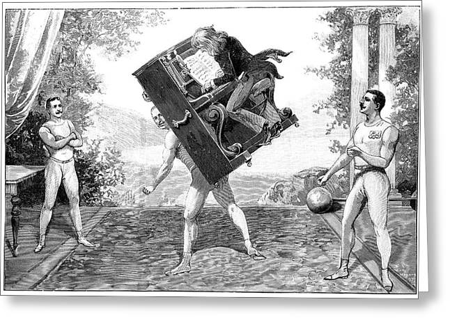 Circus Strongmen Greeting Card by Science Photo Library