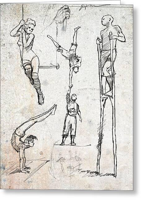 Circus Studies Greeting Card by H James Hoff