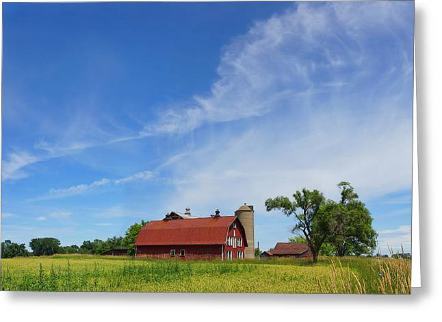 Cirrus Skies And A Red Barn Greeting Card