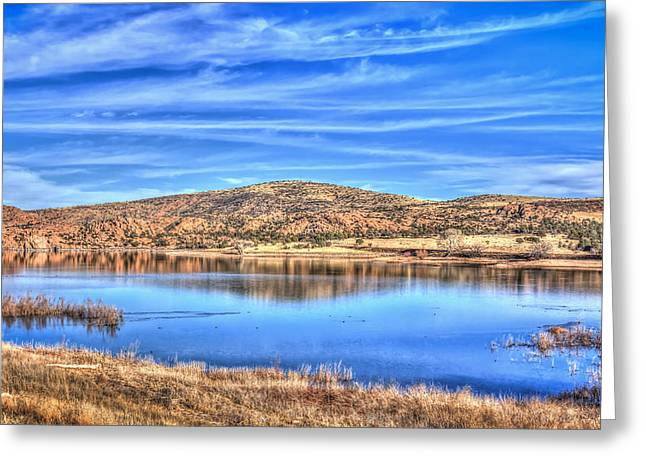Cirrus Skies At The Lake Greeting Card by Aaron Burrows