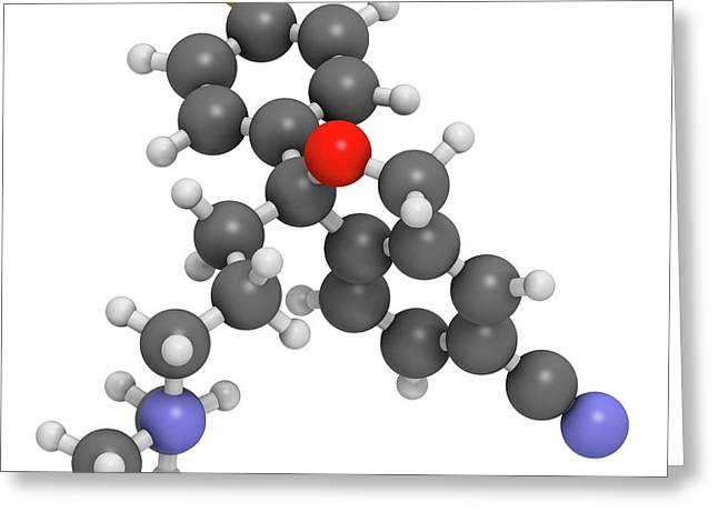 Citalopram Anti-depressant Drug Molecule Greeting Card by Molekuul