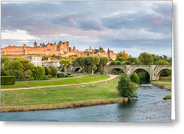 Cite De Carcassonne Seen From Pont Greeting Card by Panoramic Images