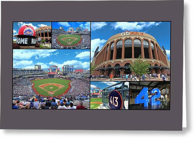 Citi Field Collage Greeting Card by Allen Beatty