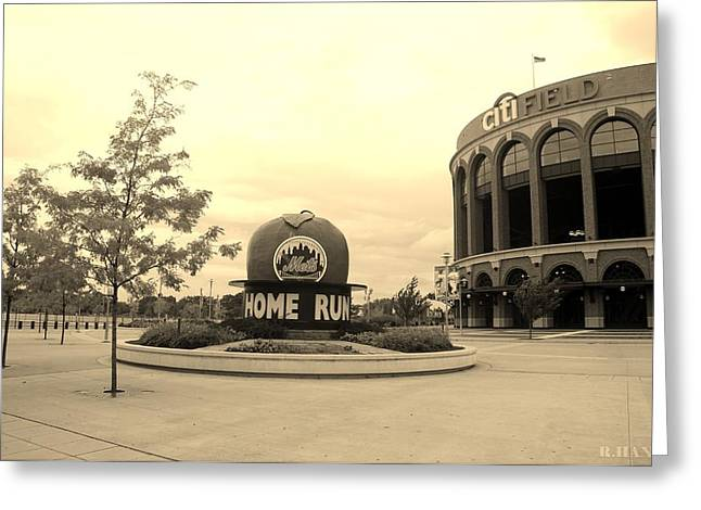 Citi Field In Sepia Greeting Card by Rob Hans