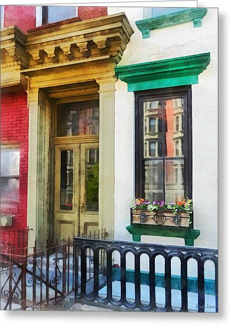 Hoboken Nj - Window With Reflections And Windowbox Greeting Card by Susan Savad