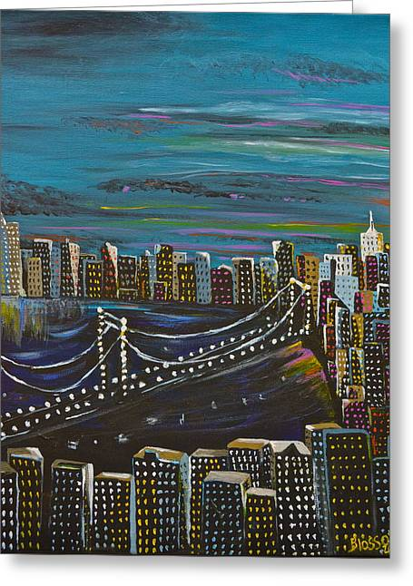 Citiscape Greeting Card by Donna Blossom