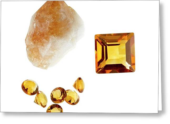 Citrine Gemstones And Crystal Greeting Card