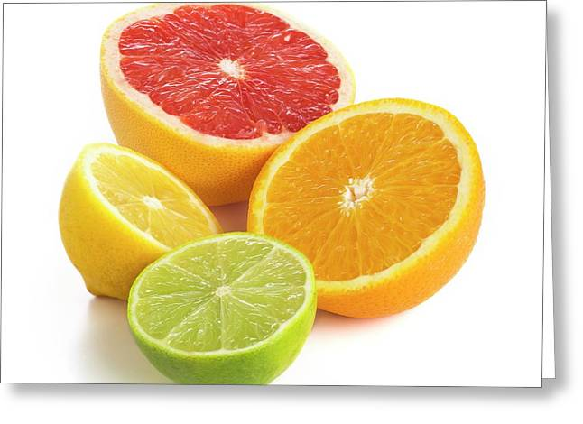 Citrus Fruit Halves Greeting Card by Science Photo Library