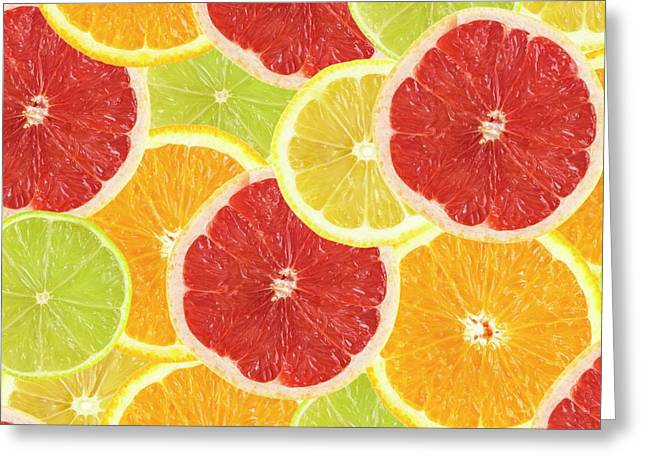 Citrus Fruit Slices Greeting Card by Science Photo Library