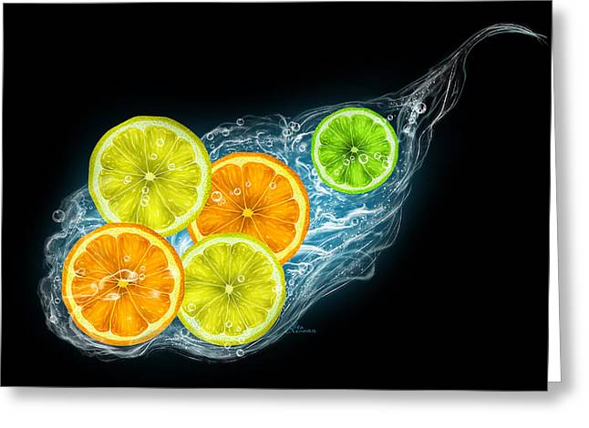 Citrus Fruits On A Black Background Greeting Card