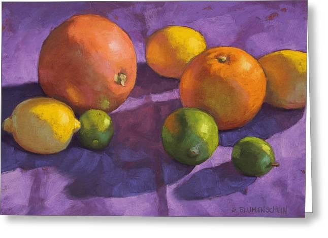 Citrus On Purple Greeting Card by Sarah Blumenschein
